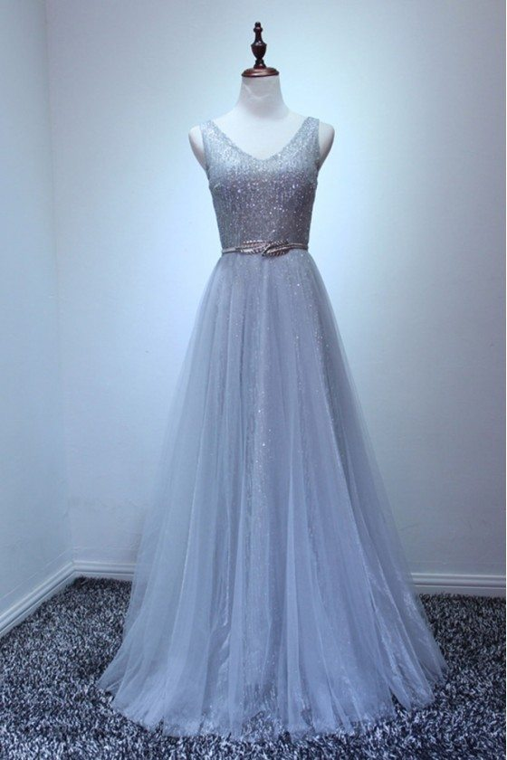 Petite Sparkly Sequined Grey Formal Dress Long For Women
