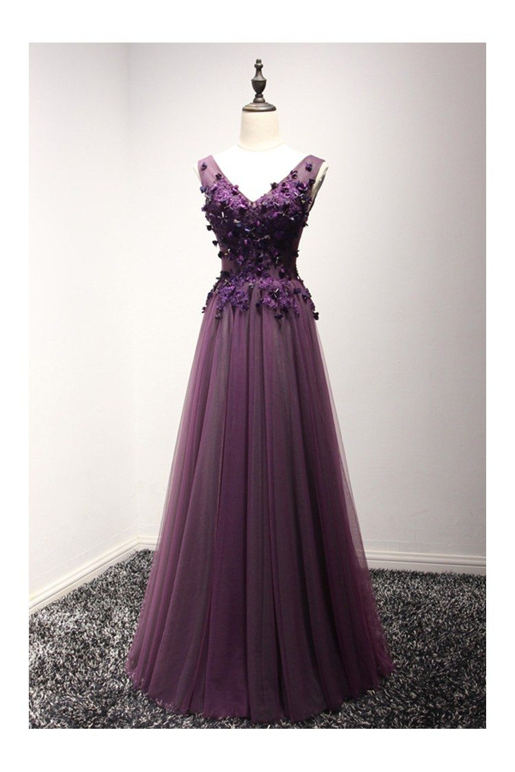 2018 Spring Long Purple Formal Dress Florals For Evening