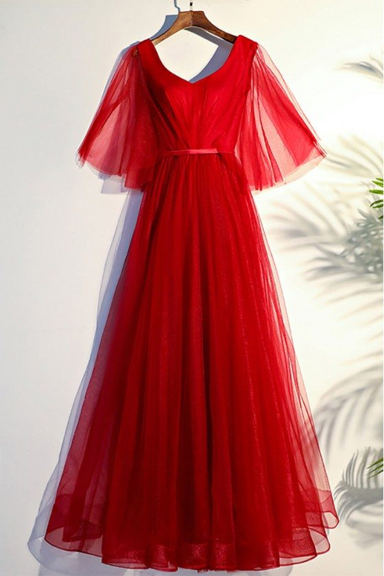 Flowy Red Butterfly Sleeves Long Formal Party Dress
