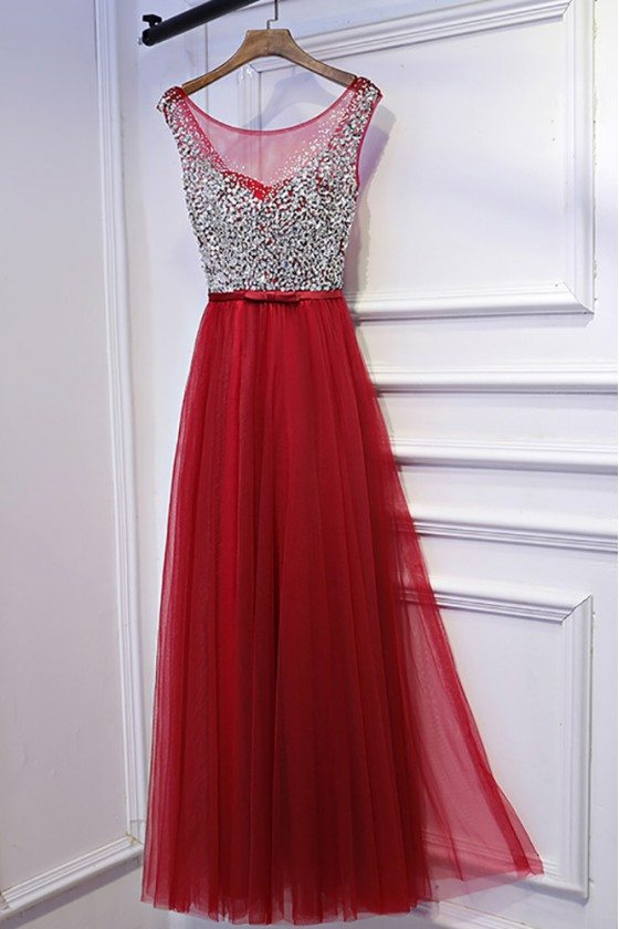Cute Sparkly Silver And Red Long Party Dress Sleeveless