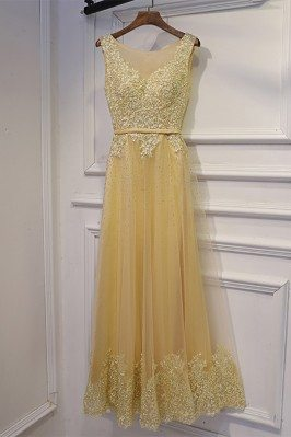 Long Champagne Sleeveless...