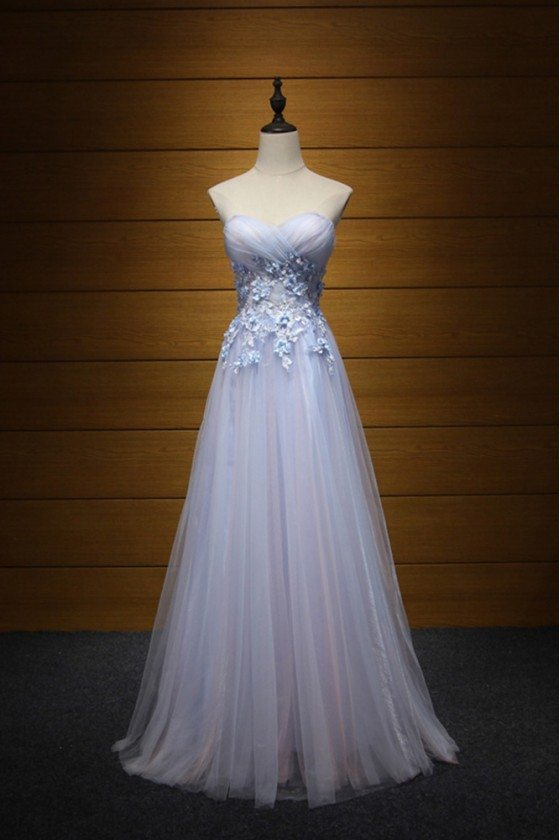 Cute Pinkish Blue Prom Dress Long With Applique Lace For Girls