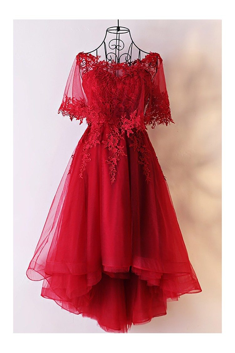 Unique Burgundy High Low Tulle Cheap Prom Dress With