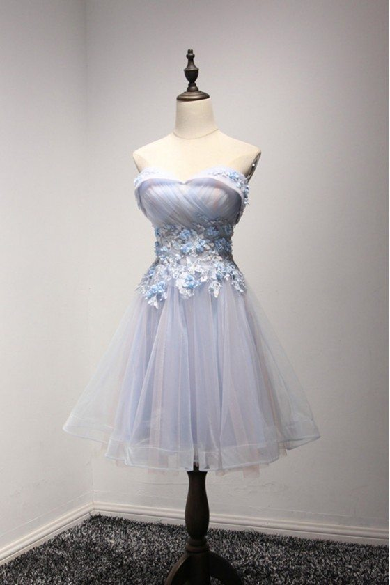 Vintage Short Bluish-pink Prom Dress Off The Shoulder For Homecoming