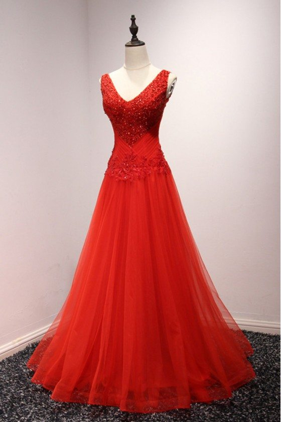 Shiny Sequins Red Tulle Formal Gowns Long For Women With Sweetheart