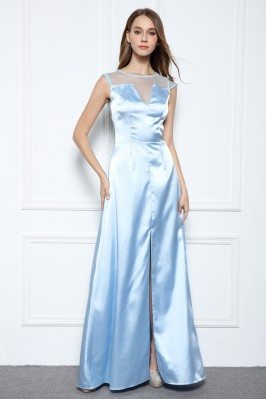 Satin V-neck Long Formal Gown
