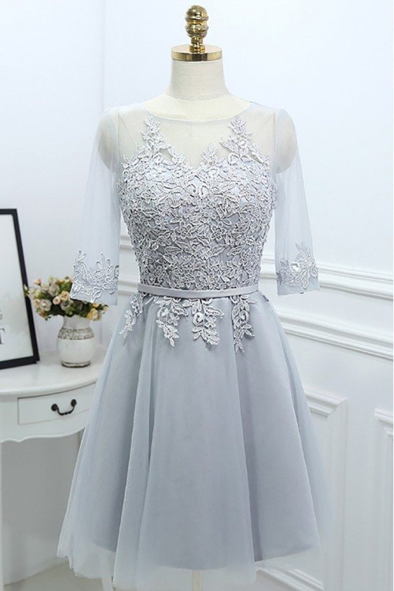 Grey Lace Short Reception Party Dress With Illusion Neck Sleeves