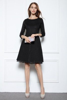 Black Beaded A-line 3/4 Sleeve Short Dress