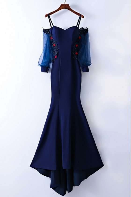 Gorgeous Cold Shoulder Long Mermaid Prom Dress With Sleeves