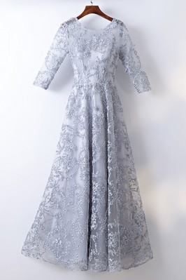 Modest Grey 3/4 Sleeve Lace...