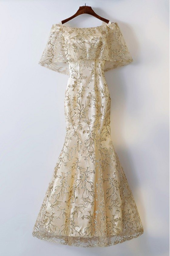 Gold Cape Sleeves Long Mermaid Formal Dress With Bling Sequins
