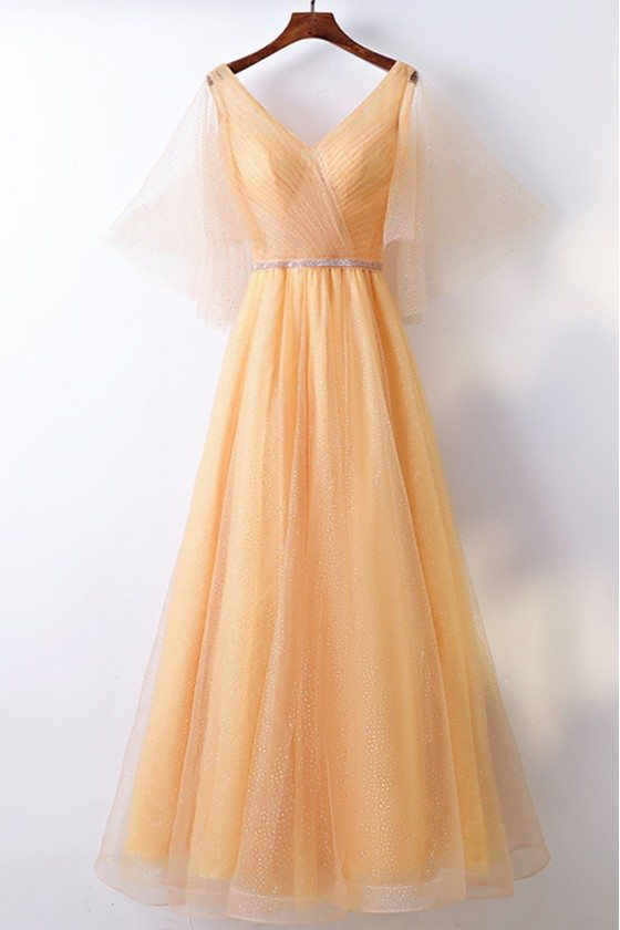 Classy Yellow Long Tulle Cheap Formal Party Dress V-neck With Bling