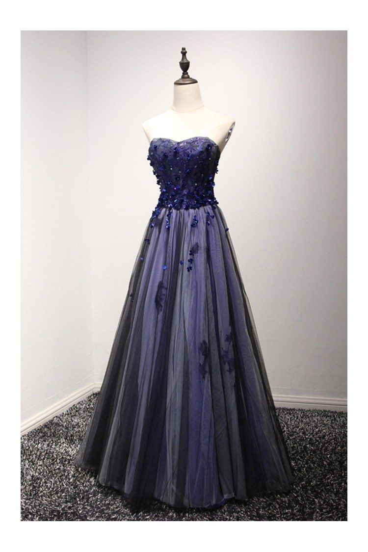 Different Blue Black Long Prom Dress With Floral For Curvy