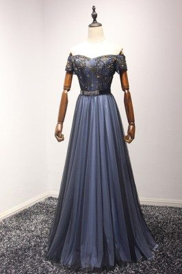 Bluish Black Beaded Long...
