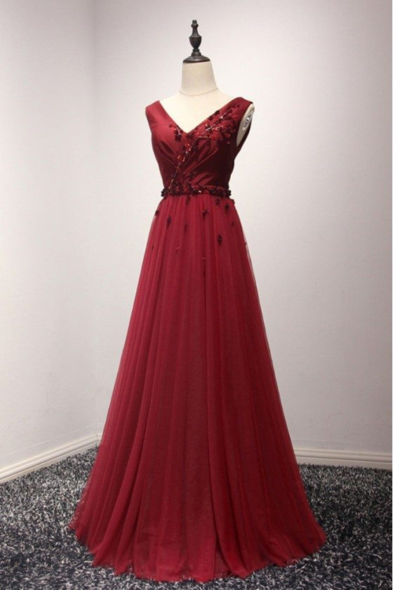 2018 Classy Burgundy Tulle Prom Dress Long With Beading Florals