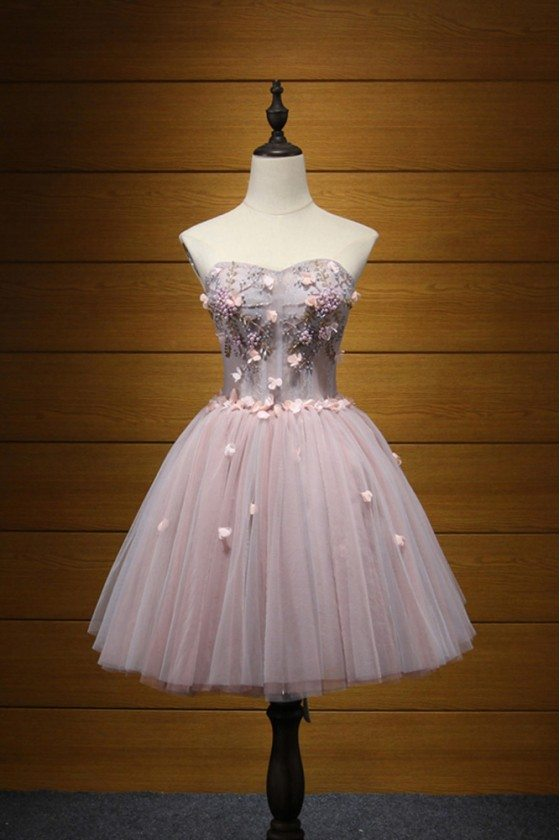 Cute Short Pink Beaded Homecoming Dress For Curvy Girls 2018