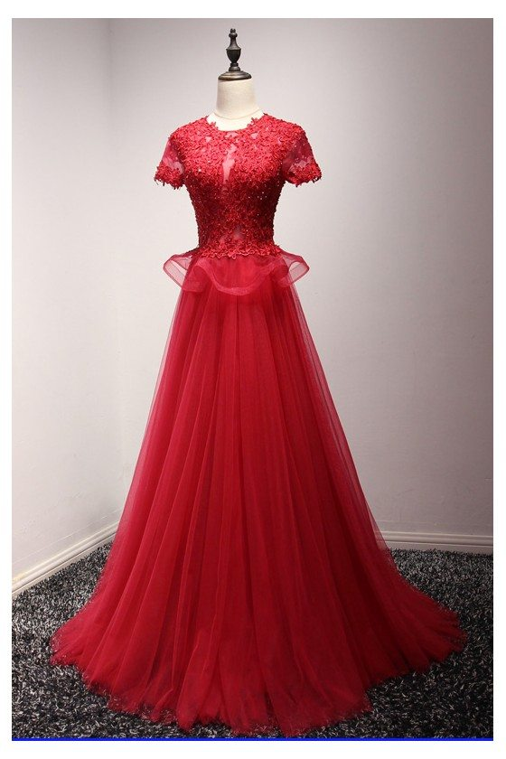 Modest Sparkly Long Red Formal Dress 2018 With Lace Beading Top