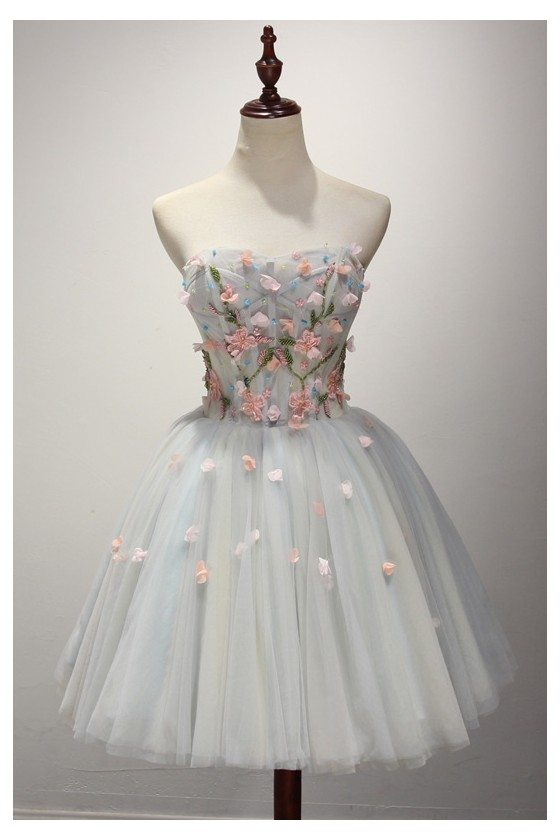 Unique Short Grey Homecoming Prom Dress With Pink Florals