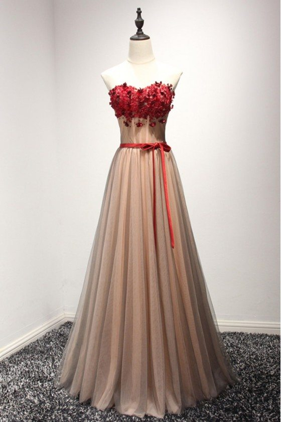 A Line Long Black Prom Dress With Romantic Red Floral Strapless