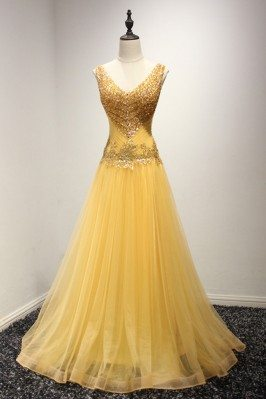 Shining Sequined Gold Prom...