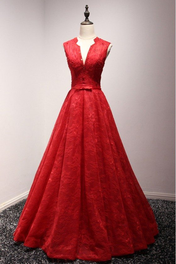 Princess Ball Gown Red Formal Dress All Lace With Beading V Neck