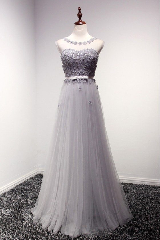 Dusty Grey Backless Long Formal Dress With Floral Bodice
