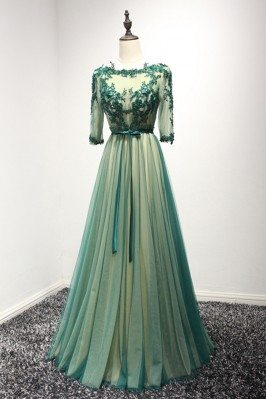 Backless Long Green Lace...