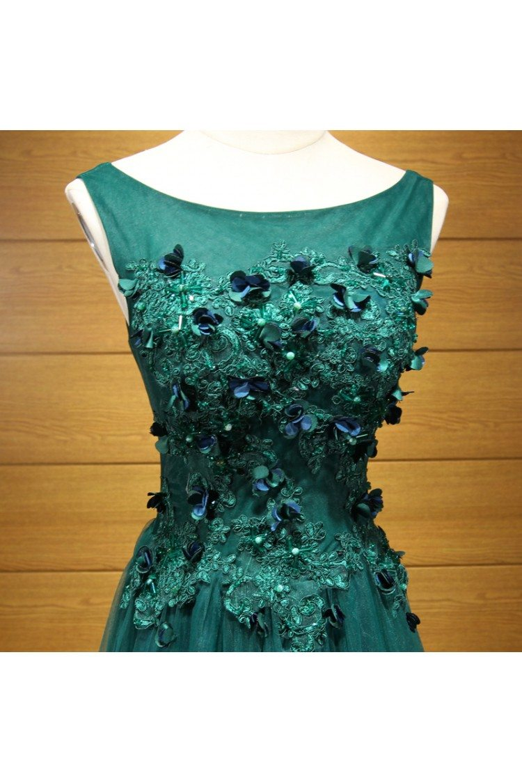 Fitted Hunter Green Long Tulle Prom Dress With Applique