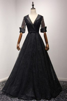 Black Long Ball Gown Lace...