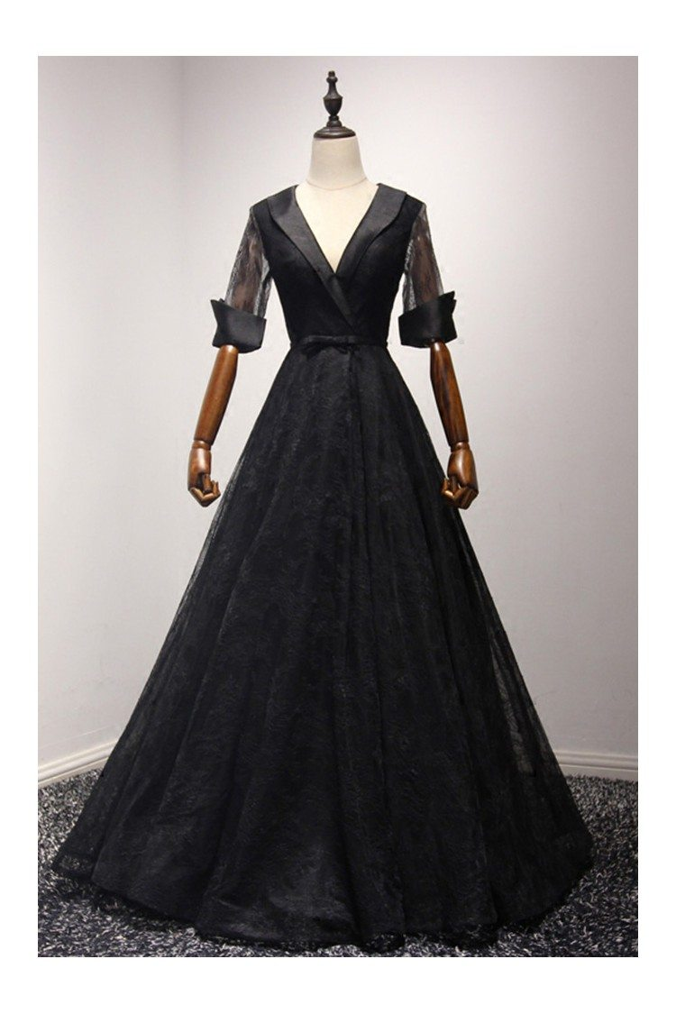 Black Long Ball Gown Lace Formal Dress Sleeved With V Neck