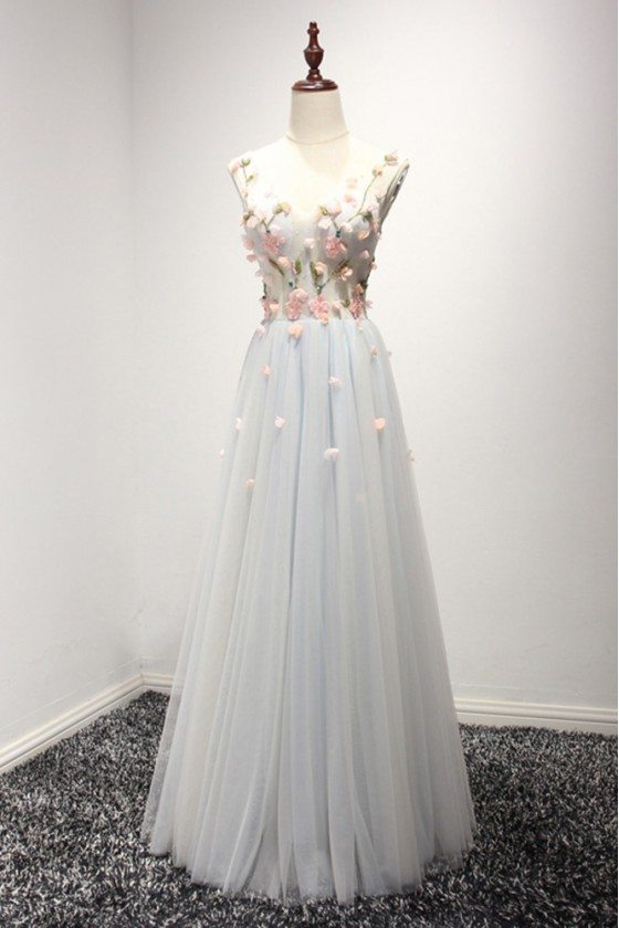 Corset Long Bluish-grey Tulle Formal Dress With Pink Floral Bodice