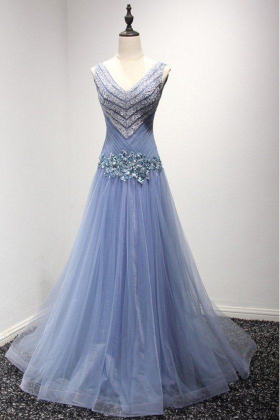 Tight A Line Long Blue Prom Dress With Sparkly Sequined Bodice