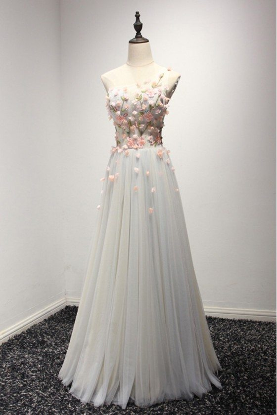 Elegant Long Grey With Pink Floral Prom Dress With One Shoulder Strap