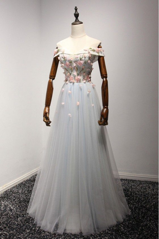 Off The Shoulder Long Prom Dress With Applique Floral Bodice