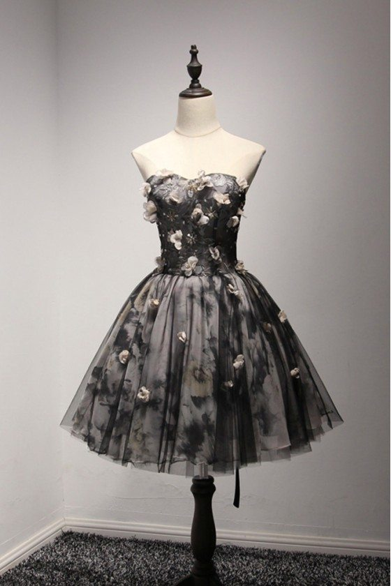 Special Black Short Prom Dress With Printed Floral Lace