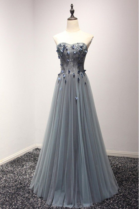 Strapless Long Tull Party Prom Dress With Beading Floral Lace