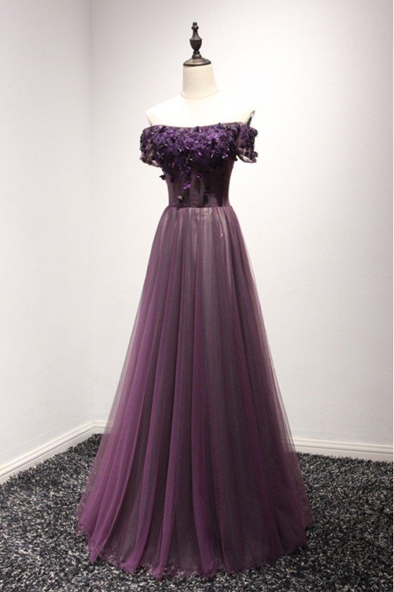 Off The Shoulder Purple Corset Prom Dress Long With Short Sleeves