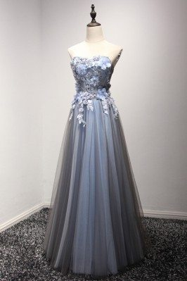 Strapless Long Tulle Prom...
