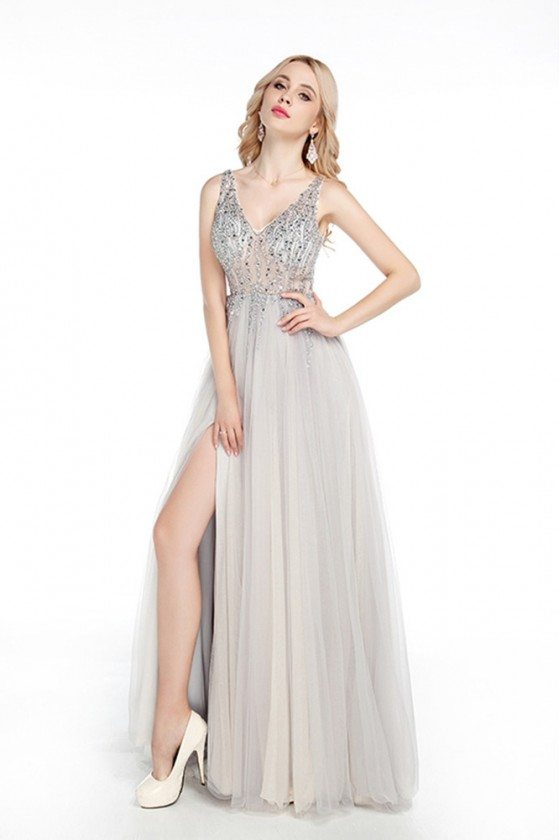 Sparkly Fitted Long Silver Prom Dress Sweetheart With Slit Front