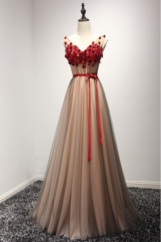 Unique Long Floral Beaded Formal Dress With Sweetheart Neck