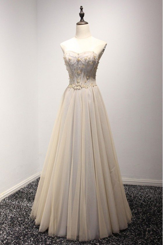 A Line Champange Long Prom Dress With Beading Sweetheart Neck