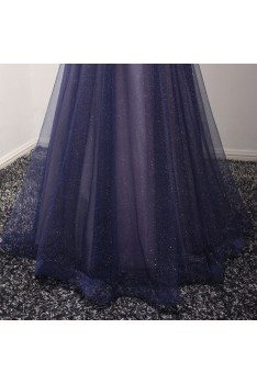 Sparkly Puffy Tulle Long Blue Prom Dress With Sweetheart
