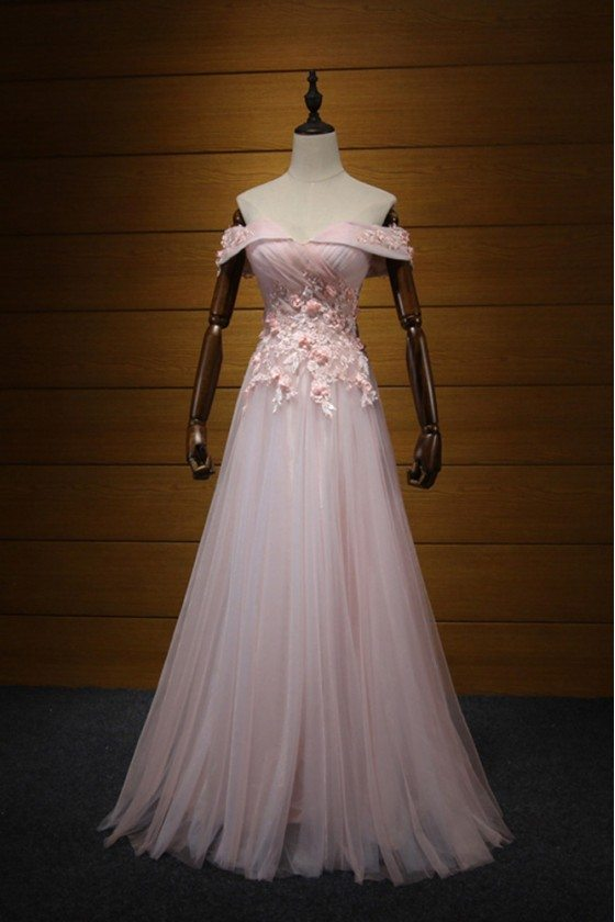 Off The Shoulder Pink Prom Dress With Applique Lace Flowers