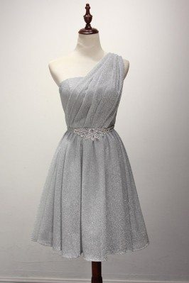 Sparkly Short Silver Prom...