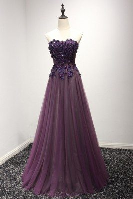 Purple Long Floral Prom...