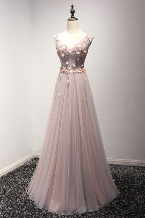 Long Floral Pink And Grey Prom Dress With Beading Sweetheart Neck
