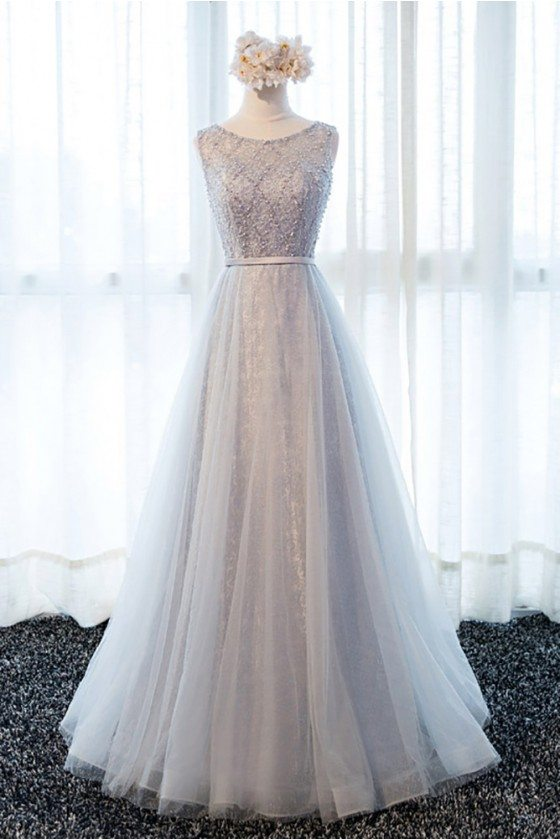 Elegant Beaded Long Formal Prom Dress A Line Tulle Style