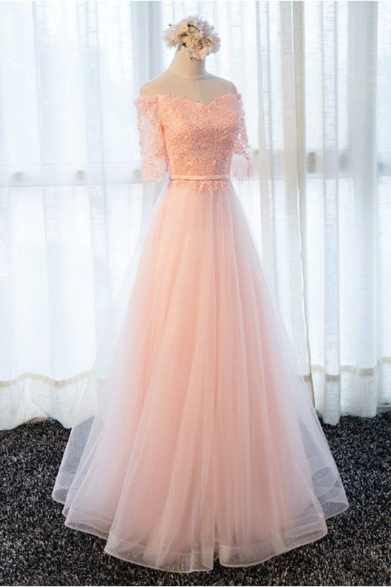 Gorgeous Long Tulle Formal Prom Dress With Lace Half Sleeves