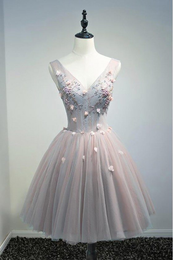 Unique Vintage Short Tulle Homecoming Prom Dress V-neck With Flowers -  $129 72 #MDS17013 - SheProm com