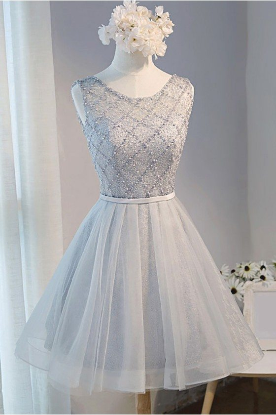 Beaded Sparkly Short Tulle Prom Party Dress Sleeveless